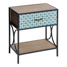 Mesilla de noche para dormitorio o mesa auxliar estilo retro modelo Dafne. Mesita con cajón y estante inferior, elaborada en hierro con dm, color natural y azul.