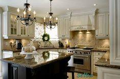 Cream Kitchen Cabinets, Cream Colored Cabinets and Colored Kitchen Cream Colored Kitchens, Cream Colored Kitchen Cabinets, Kitchen Cabinet Colors, Kitchen Redo, Kitchen Colors, New Kitchen, Kitchen Remodel, Cream Cabinets, Dark Cabinets