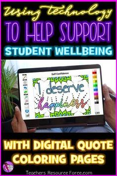 Paperless Digital Coloring Decks for Distance Learning: Using Technology to Support Student Well Being Teaching Special Education, Free Teaching Resources, Bilingual Education, Learning Activities, Teacher Resources, Kids Learning, Teaching Character, Character Education, Quote Coloring Pages