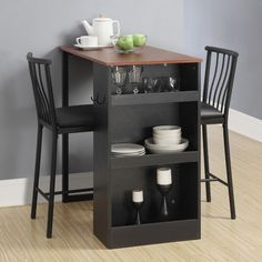 3 Pc Countertop Height Bar Set Table and Chairs Home Kitchen Storage Spacesaver