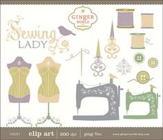 Sewing clip art hand draw illustration clipart  by GingerWorld, $4.95