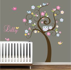 Childrens Decals Nursery Wall Vinyl Tree with Owls by Modernwalls