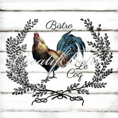 Vintage Rooster French Le Coq Large Instant Digital Download Printable Chicken Graphic Transfer Farm Style Image Rustic Folk Art Supplies