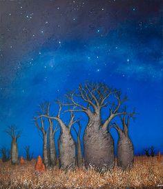 Ingrid Windram - Boabs on a Starry Night Australian Painting, Australian Artists, Desert Art, Indigenous Art, Naive Art, Aboriginal Art, Dot Painting, Tree Art, Illustration Art