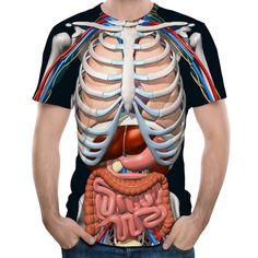 2018 New Fashion Male Skeleton Internal Organs Printed Round Neck Short-Sleeved T-Shirt Anime Funny Halloween Men T Shirt Shorts Casual, Casual Shirts For Men, Human Skeleton 3d, Skeleton Art, Chemise Fashion, Halloween Men, Funny Halloween, Tee Shirt Homme, 3d T Shirts