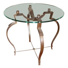 Metal and Glass Coffee Table by Raymond Subes