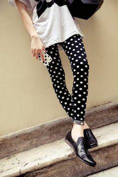 Sexy Fashion Women Girl black white Polka Dot Print Legging Pants 1 pcs NEW $7.99