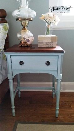 Vintage Painted and Refinished Sewing Table Night Stand Bedside Table General Finishes Antique Walnut Gel Stain Country Chic Paint Dune Grass DIY Painted Inspiration - May 25 2019 at Blue Painted Furniture, Paint Furniture, Furniture Makeover, Bedroom Furniture, Furniture Design, Salon Furniture, Distressed Furniture, Furniture Online, Cheap Furniture