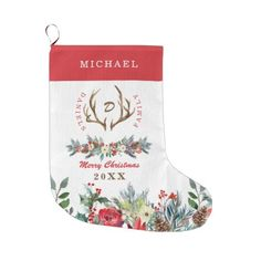 Elegant family seasonal rustic monogrammed large christmas stocking