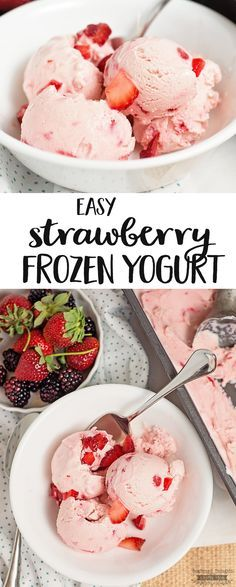 This super easy Strawberry Frozen Yogurt recipe is a great way cool off this summer and enjoy a healthy treat! It is just so creamy, fresh tasting and delicious! Ice Cream Desserts, Köstliche Desserts, Frozen Desserts, Ice Cream Recipes, Frozen Treats, Healthy Desserts, Delicious Desserts, Dessert Recipes, Healthy Recipes