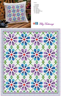 Bahçeye bir de yastık gerekebilir... Designed and stitched by Filiz Türkocağı...
