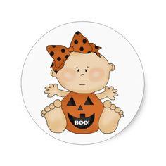 Halloween Theme BOO Baby Girl Fun Stickers