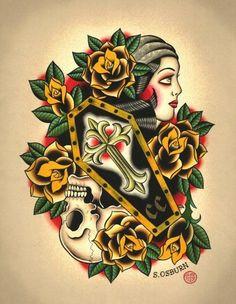 Tatuajes de ataúdes tradicionales