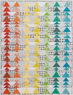 Bryan House Quilts: Ducks in a Row {Modern Rainbow} - spectrum, flying geese Quilt Kits, Quilt Blocks, Quilt Inspiration, Low Volume Quilt, Flying Geese Quilt, Rainbow Quilt, Quilting Tutorials, Quilting Ideas, Modern Quilting