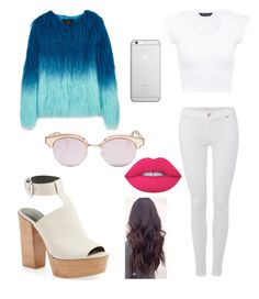 """""""☄"""" by yoliredolat on Polyvore featuring moda, Unreal Fur, 7 For All Mankind, Rebecca Minkoff, Le Specs, Native Union y Lime Crime"""