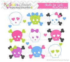 scrapbook paper with girl skull | skulls for girls clipart, rockstar clip art, for digital scrapbooking ...