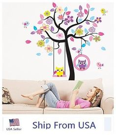 Cute-Owl-Bird-Swing-Flower-Tree-Wall-Stickers-Decor-Art-Mural-Home-Room-Decal-US