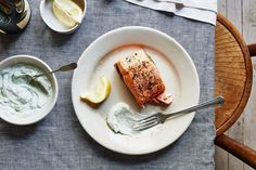 Perfect Roast Salmon Recipe w/ herbed yogurt sauce- tried & true! Super easy way to cook skin-on salmon. Uses mayo (sounds weird, but you really don't taste it), salt, pepper, and dill. Salmon Recipes, Fish Recipes, Seafood Recipes, Cooking Recipes, Food52 Recipes, Cooking Ribs, Cooking Steak, Yummy Recipes, Dinner Recipes