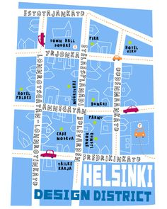 Map of Helsinki design district - unfortunately artist not known