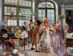 Ladies at the Milliners by Mariano Alonso-Perez (Spanish 1857-1930)