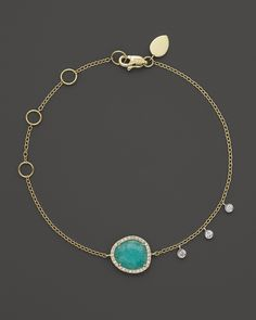 Meira T 14K Yellow Gold Small Amazonite and Diamond Bracelet | Bloomingdale's