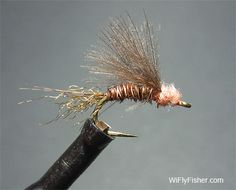 One of my favorite CDC emerger fly patterns for the Hendrickson mayfly hatch.   Use pink dubbing for the head and mix in a little green antron in the trailing shuck