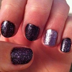 "The light puple is Nicole by OPI's ""Chrome For The Holidays."" The dark purple is also Nicole by OPI (they came in a 2-pack), but it didn't have a name on the bottom! The purple sparkles are ""One Less Lonely Glitter"" from the Justin Bieber collection by Nicole by OPI!"