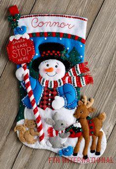 Design Works Snowman with Penguins Christmas Stocking - Felt Applique Kit. Felt Applique Christmas Stocking Kit featuring a snowman with lots of enthusiastic pe Felt Stocking Kit, Christmas Stocking Kits, Felt Christmas Stockings, Christmas Crafts, Christmas Decorations, Christmas Ornaments, Snow Fun, Frosty The Snowmen, Felt Applique