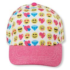 447b88b0830 Girls Emoji Printed Glitter Baseball Hat - Multi - The Children s Place  Girl Emoji