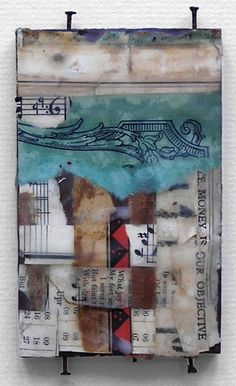 by Crystal Neubauer  Collage with Encaustic and Salvaged Wood