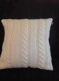 cable knit pillow by Handmadebysmit on Etsy