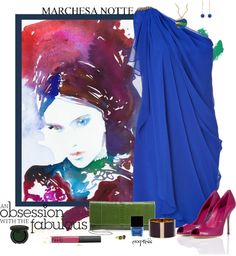 """Cobalt Blue Marchesa"" by exxpress on Polyvore"