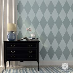 Retro or Modern Geometric Home Decor - Harlequin Wall Stencils for Kids Room - Royal Design Studio wall stencils