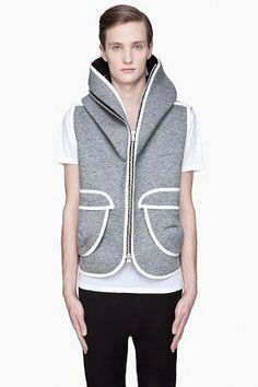 e8c286dcd040 DENIS GAGNON // Grey Hooded white trimmed Zip-Up Vest  #leatherjacketsformengrey