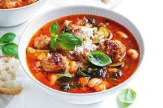 Let your slow cooker do the work to create this satisfying Italian-style veggie and meatball soup. Soup Recipes, Great Recipes, Dinner Recipes, Frugal Recipes, Cooker Recipes, Pasta Recipes, Recipe Ideas, Easy Family Meals, Meals For Two