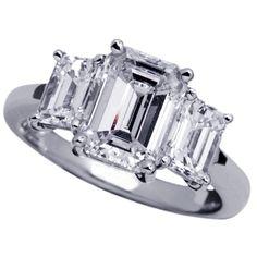 emerald cut rings | platinum three diamond emerald cut ring
