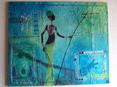 lezardaunezrond.over-blog.com  Tableau home déco de thème africain réalisé avec papier de soie, peinture acrylique turquoise, pâte de structure, brisures de verre teintées bleu turquoise, cerne relief noir et argent