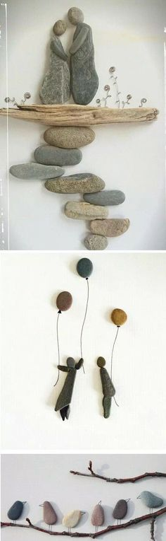 Beautiful inspiration for art with rocks, twigs and other nature items. Natural … Beautiful inspiration for art with rocks, twigs and other nature items. Natural art would be perfect for a garden or canvas. Pin: 540 x 1800 Stone Crafts, Rock Crafts, Diy And Crafts, Arts And Crafts, Art Crafts, Crafts With Rocks, Kids Crafts, Kids Diy, Twig Crafts