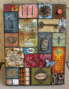 Annette's Creative Journey: Holtzian Patchwork - this is a patchwork created as a sampler of Tim Holtz techniques. What I like: the whole patchwork idea, and now that I think about it, I like the idea Mixed Media Canvas, Mixed Media Collage, Collage Art, Mixed Media Journal, Altered Canvas, Altered Art, Art Altéré, Patchwork Cards, Cuadros Diy