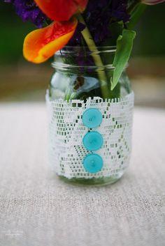 Lace + buttons   Wedding Table Decor Ideas   Emily Lapish Photography