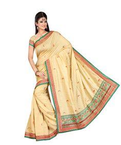 Beige Bhagalpuri Saree With Blouse 60054