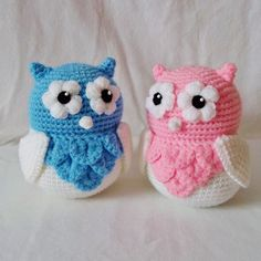 Amigurumi Cute Owl Twins por HookLineCrochet en Etsy