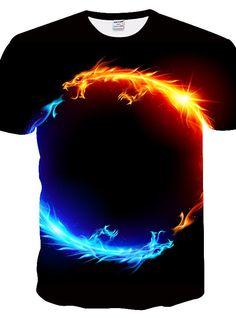 Men's T-Shirt Plus Size Slim T-shirt - / Animal Print Round Neck Black New T Shirt Design, Shirt Designs, Print T Shirts, Tee Shirts, Plus Size T Shirts, Mens Tees, Black Tops, Shirt Style, Colorful Shirts