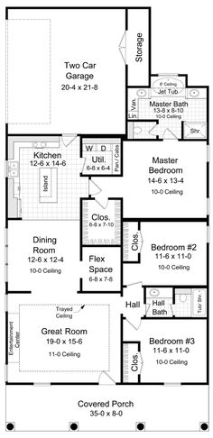 I like this layout for the most part, however I would create a hallway for the master bedroom off of the other bedrooms (not the kitchen...that seems weird), put a pantry where the existing master entry is, and create more of a foyer at the entrance.