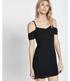 Cold Shoulder Fit And Flare Dress Black Women's 6