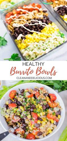 Chicken Burrito Bowls | Lunch Meal Prep Clean & Delicious This Chicken Burrito Bowl recipe is an easy and healthy way to meal prep.  Made with ground chicken, cilantro lime cauliflower rice, black beans, corn and tomatoes, they make a great, low carb and gluten free lunch or a simple dinner. Watch the video to see how it's made!<br> Say good-bye to fast food (like Chipotle) and hello to this healthy homemade DIY chicken burrito bowl.  Packed with ground chicken, black beans, corn, tomatoes… Burrito Bowl Meal Prep, Chicken Burrito Bowl, Burrito Bowls, Lunch Recipes, Healthy Recipes, Meal Recipes, Healthy Ground Chicken Recipes, Lunch Bowl Recipe, Lunch Foods