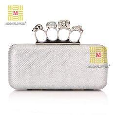 Ladies' Skull Clutch Knuckle Rings Handbag, Four Fingers Evening Bag with Shoulder Chain punk wallet , free shipping C04-inEvening Bags from...