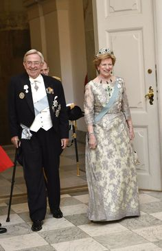 King Constantine and Queen Anne Marie of Greece attend the 75th birthday gala for Queen Margrethe at Christanborg 4/15/2015