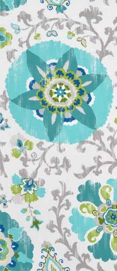 P. Kaufmann Outdoor Silsila Poolside Fabric with gray, turquoise blue and while suzani pattern