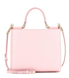 Dolce & Gabbana - Small Sicily leather shoulder bag - The textured pink leather has a polished finish that, next to the gold-tone hardware, evokes an oh-so glamorous look of chicness. - @ www.mytheresa.com